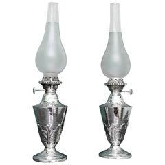 Pair of 19th Century Art Nouveau English Silver Lamps, 1889