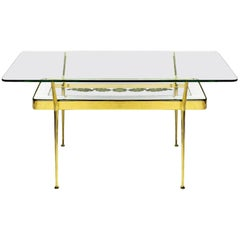 1950s Coffee Table by Cesare Lacca, Brass, Mirrored and Etched Glass, Italy