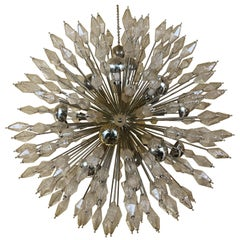 Late 20th Century Brass Sputnik Chandelier with Amber Polyhedron Glass by Venini