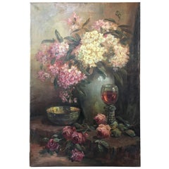 Cornelius 'Kees' Terlouw Oil on Canvas 'Flowers'