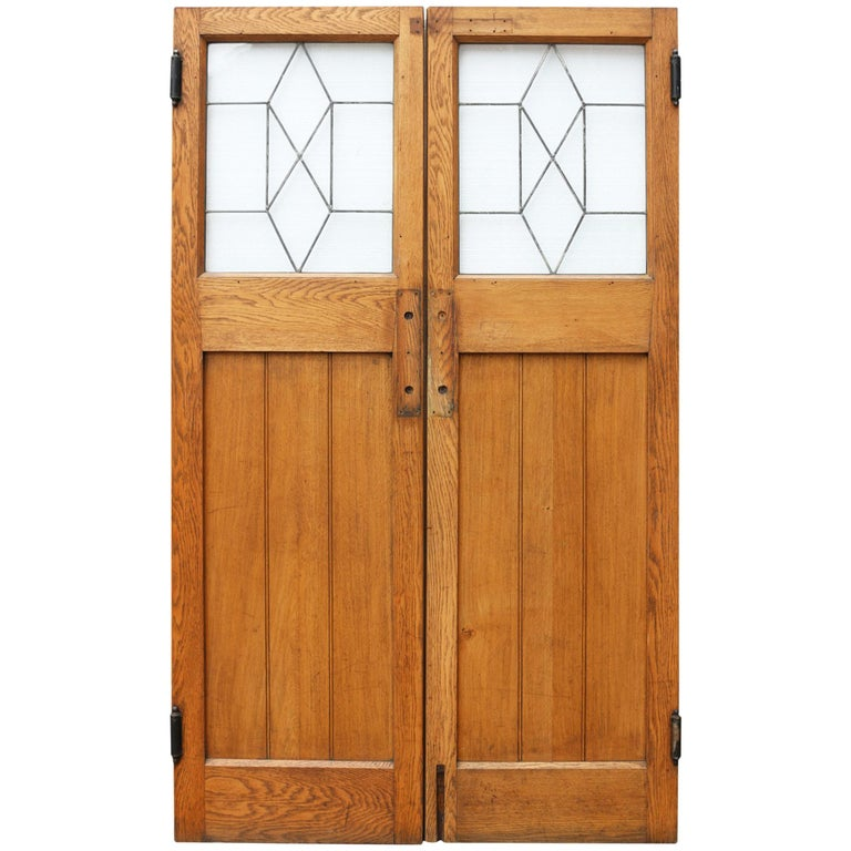 Pair Of 1930s Oak Interior Swing Doors With Leaded Glass For Sale At