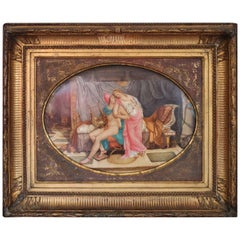 19th Century Antique Painting on Porcelain by Guenez