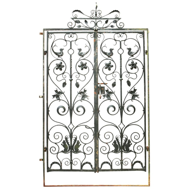 Pair of Reclaimed Wrought Iron Gates in Frame at 1stdibs