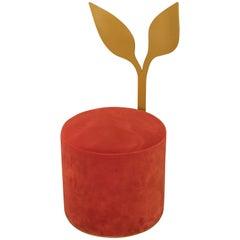 "Ivy Pouf Orange from ""Giardino Botanico"" in Satin Brass Finish and Velvet"