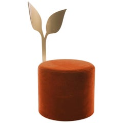 "Ivy Pouf Orange from ""Giardino Botanico"" in Satin Brass Finish and Velvet"