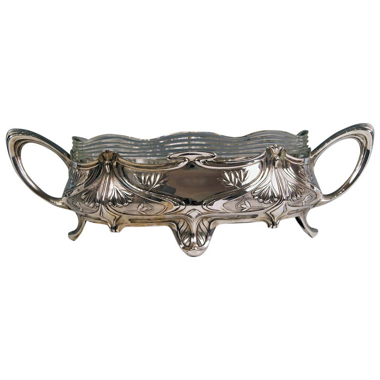 Silver Art Nouveau Flower Bowl, Germany Koch & Bergfeld, circa 1900