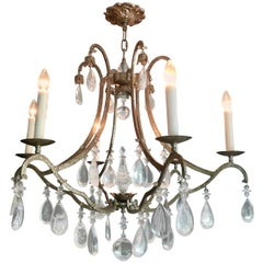 Stunning Dennis & Leen Iron and Rock Crystal Chandelier