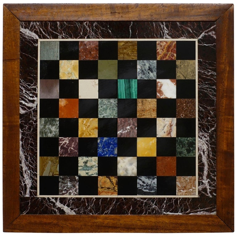 Italian Marble Specimen Chess Board, Early 20th Century For Sale
