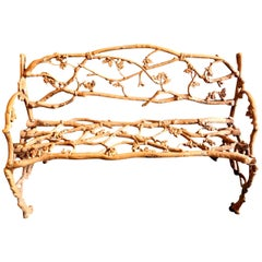 English Garden Bench, Faux Bois Iron, 19th Century