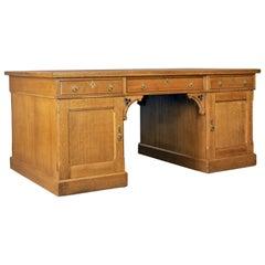 Antique, Partner's Desk, John Taylor & Son, Edinburgh, Gothic, Oak, circa 1870