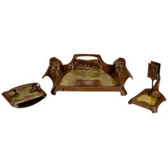 Very Beautiful Bronze Secession Inkwell Set with Glass Inserts and Green Jade
