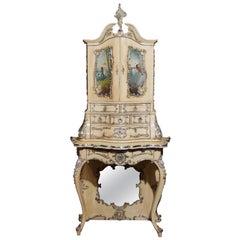 19th Century Stunning Elaborately Hand-Painted Italian Florentine Cabinet