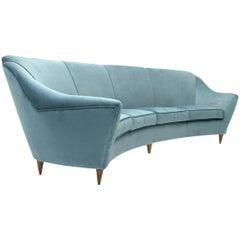 Italian Four-Seat Azure Velvet Sofa, 1950s