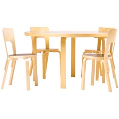 Dining Set Model 91/66 by Alvar Aalto for Artek, Finland