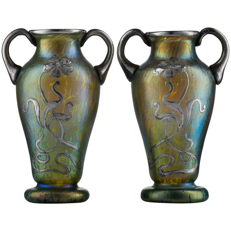 Art Nouveau Pair of Creta Glass Silvered Papillon Amphora Vases by Johann Loetz