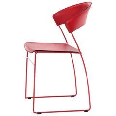 Baleri Italia Juliette Stackable Chair in Red Steel by Hannes Wettstein