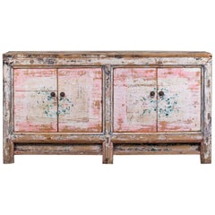 Vintage Chinese Painted Buffet Credenza Sideboard in Pink Black, circa 1940