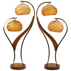 Mid-Century Modern Walnut and Brass Table Lamps with Glass Globe Shades