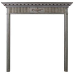Small Regency Wood Fireplace with Carved Urn