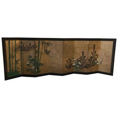 Japanese Eight Fold Screen with Bamboo