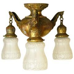 Brass Three Shade Art Nouveau Chandelier