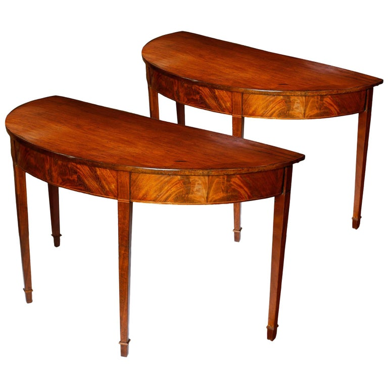 Pair of Late 18th Century Hepplewhite Mahogany Demilune Tables For Sale