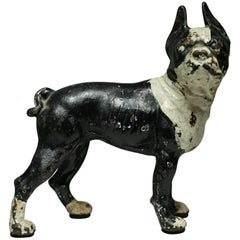 1930s Cast Iron Boston Terrier Doorstop by Hubley