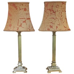 Pair of 1930s Brass Corinthian Column Table Lamp