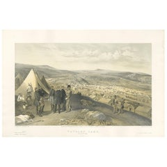Antique Print of the Cavalry Camp 'Crimean War' by W. Simpson, 1855