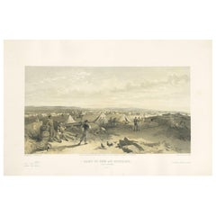 Antique Print of the Camp of the 4th Division 'Crimean War' by W. Simpson, 1855