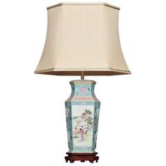 Famille Rose Canton Porcelain Vase Lamp