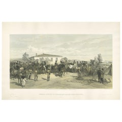 Antique Print of the Funeral of Lord Raglan 'Crimean War' by W. Simpson, 1855