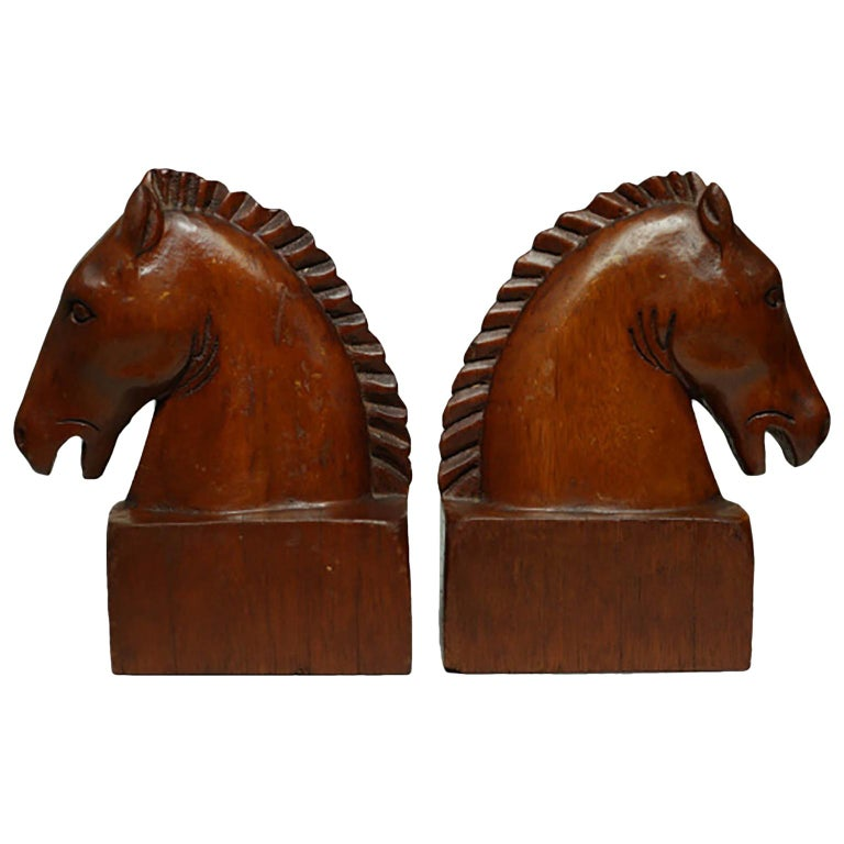 Pair of Wood Horse Bookends, circa 1950s