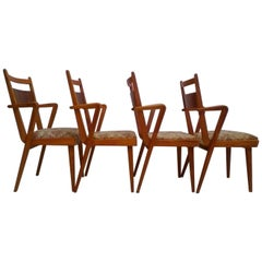 Set of Four Wooden Chairs JI-350 with New Upholstery, 1965