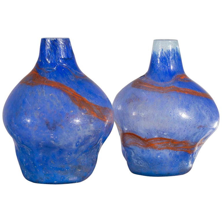 Pair Of Modern Blue Orange Handblown Glass Vases From Holland At 1stdibs