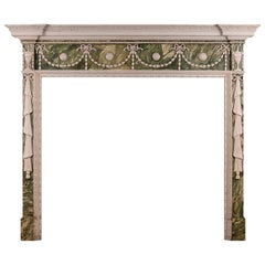 Faux Marble Adam Style Wood Fireplace with Gesso Enritchments