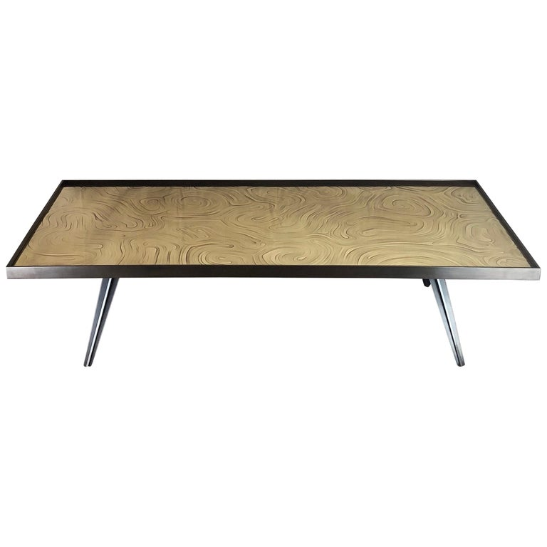"""Cholesterique"" Contemporary Brass and Steel Coffee Table by Erwan Boulloud"
