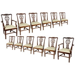 12 Chippendale Style Mahogany Dining chairs