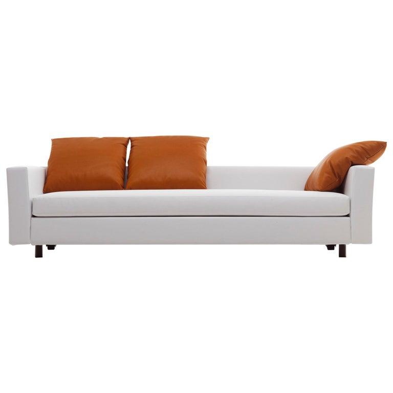 Baleri Italia Bill Three-Seat Sofa in White Leather by Hannes Wettstein