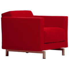 Baleri Italia Norman Armchair in Red Leather by Hannes Wettstein