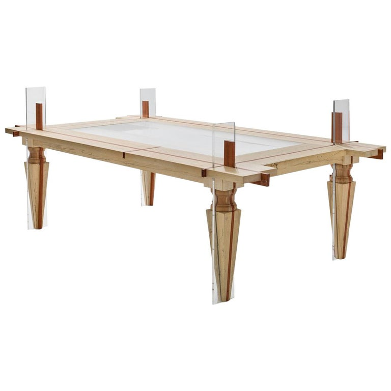 Contemporary Coffee-Table Just Contrast with Mixed Woods and Transparent Acrylic