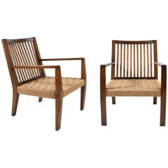 Pair of 1940s Rope Seat Armchairs