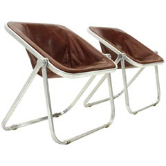Leather Plona Folding Chair by Giancarlo Piretti for Castelli, 1960s, Set of Two