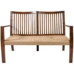 1940s Woven Rope and Oak Settee
