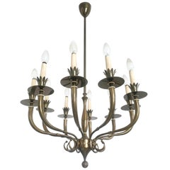Ten-Arm Brass Chandelier in the Style of Gio Ponti, Italy, 1940s-1950s