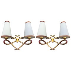 Pair of Art Deco Sconces in Bronze in the Style of Jules Leleu, circa 1950