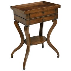 18th Century French Walnut Side Table with Tray Top and Two Drawers