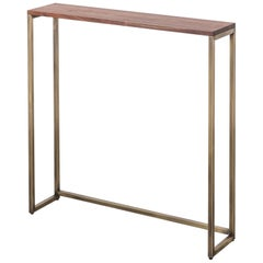 Frame 1x1 Console by Uhuru Design with Walnut Top and Antiqued Brass Base