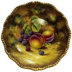 Royal Worcester Hand-Painted Fruit J. Smith Peaches and Blackberries
