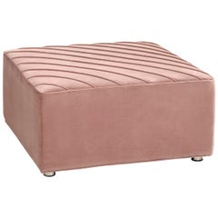 Modern Style Square Milan Welted Ottoman in Mauve Velvet with Chrome Feet